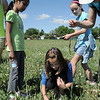 "Paige Lewis, 11, picks up a piece of paper indicating the ""Saturn"" location during the Mamie Doud Eisenhower Public Library's Geocache Planet Race for teens at Community Park on Tuesday.<br /> June 21, 2011<br /> staff photo/David R. Jennings"