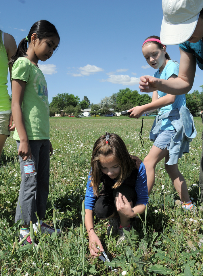 """Paige Lewis, 11, picks up a piece of paper indicating the """"Saturn"""" location during the Mamie Doud Eisenhower Public Library's Geocache Planet Race for teens at Community Park on Tuesday.<br /> June 21, 2011<br /> staff photo/David R. Jennings"""