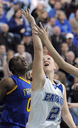 Broomfield's Nicole Lehrer goes to the basket against Wheat Ridge during Friday's state playoff game at Broomfield.<br /> February 24, 2012 <br /> staff photo/ David R. Jennings
