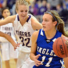 oBroomfield's Katie Croell dribbles the ball downcourt against Holy Family's  Micaela Blanchard during the cross town rivalry girls game at Holy Family on Friday.<br /> December 21, 2012<br /> staff photo/ David R. Jennings