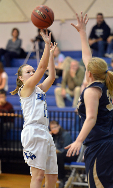 Broomfield's Nicole Lehrer shoots over Legacy's Courtney Smith during Saturday's girls basketball game at Broomfield.<br /> <br /> December 1, 2012<br /> staff photo/ David R. Jennings