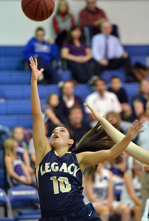 Legacy's Emiley Lopez goes to the basket against Broomfield during Saturday's girls basketball game at Broomfield.<br /> <br /> December 1, 2012<br /> staff photo/ David R. Jennings