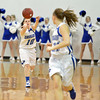 Broomfield's Bri Wilbur passes the ball to Nicole Lehrer during Friday's game against Thompson Valley at Broomfield.<br /> January 18, 2013<br /> staff photo/ David R. Jennings
