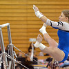 Broomfield's Melanie Stelling flies through the air to the second bar for her routine on the uneven parallel bars during the Broomfield Invitational Gymnastics Meet at Mountain Range High School on Saturday.<br /> September 29, 2012<br /> September 29, 2012<br /> staff photo/ David R. Jennings