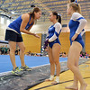 Broomfield's coach Erica Taga, left, talks to Gabby Maiden and Kailey Licata after Maiden's floor routine during the Broomfield Invitational Gymnastics Meet at Mountain Range High School on Saturday.<br /> September 29, 2012<br /> staff photo/ David R. Jennings