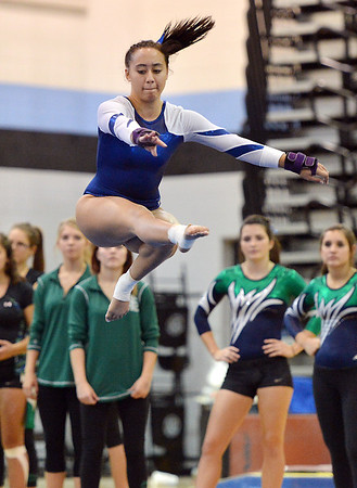 Broomfield's Gabby Maiden performs her floor routine during the Broomfield Invitational Gymnastics Meet at Mountain Range High School on Saturday.<br /> September 29, 2012<br /> staff photo/ David R. Jennings