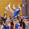 Broomfield's Melanie Stelling flies through the air to the second bar for her routine on the uneven parallel bars during the Broomfield Invitational Gymnastics Meet at Mountain Range High School on Saturday.<br /> September 29, 2012<br /> staff photo/ David R. Jennings