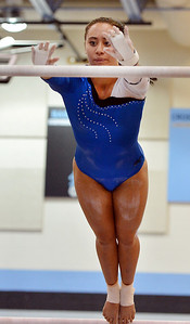 Broomfield'sGabby Maiden performs her routine on the uneven parallel bars during the Broomfield Invitational Gymnastics Meet at Mountain Range High School on Saturday. September 29, 2012 staff photo/ David R. Jennings