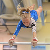 Broomfield's Heather Betz performs her routine on the uneven parallel bars during the Broomfield Invitational Gymnastics Meet at Mountain Range High School on Saturday.<br /> September 29, 2012<br /> staff photo/ David R. Jennings