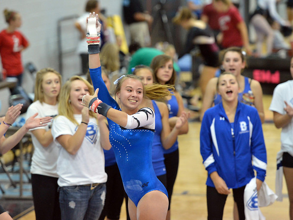 Broomfield's Jessica Riley lands at the end of her routine on the uneven parallel bars during the Broomfield Invitational Gymnastics Meet at Mountain Range High School on Saturday.<br /> September 29, 2012<br /> staff photo/ David R. Jennings