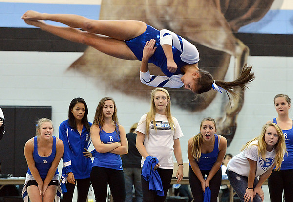Broomfield's Breann Claussen  performs her floor routine during the Broomfield Invitational Gymnastics Meet at Mountain Range High School on Saturday.<br /> September 29, 2012<br /> staff photo/ David R. Jennings