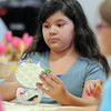 Melisa Rivera, 9, decorates her mirror during the girls self esteem workshop led by Gracie Forrey on Tuesday at Broomfield United Methodist Church.<br /> July 26, 2011<br /> staff photo/ David R. Jennings