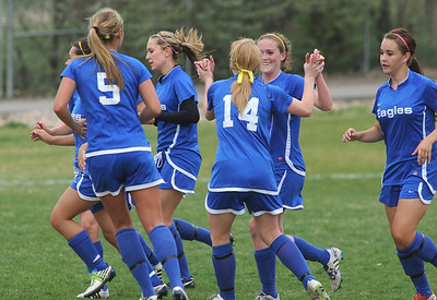 Broomfield celebrates a goal against Niwot during Thursday's game at Niwot.  April 19, 2012  staff photo/ David R. Jennings
