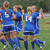 Broomfield celebrates a goal against Niwot during Thursday's game at Niwot.<br /> <br /> April 19, 2012 <br /> staff photo/ David R. Jennings