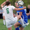 Broomfield's Katie Forsee and Niwot's Lauren FitzGibbons fight for control of the ball during Thursday's game at Niwot.<br /> <br /> April 19, 2012 <br /> staff photo/ David R. Jennings