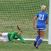Broomfield's Sara Barton watches the ball slip past Niwot's Kim Schoep to score a goal during Thursday's game at Niwot.<br /> <br /> April 19, 2012 <br /> staff photo/ David R. Jennings