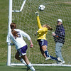 Holy Family's Maddie Kuzik watches the ball go into the goal past  Kent Denver's goalie Haley Kraus during Saturday's game at the Broomfield County Commons Park.<br /> April 30, 2011<br /> staff photo/David R. Jennings