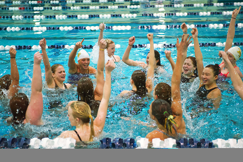 S0210SWIM11.jpg S0210SWIM11<br /> Thompson Valley's swim team cheers after jumping into the pool following their state title at the Colorado State 4A girls swim finals in Thornton on Saturday afternoon, February 9th, 2013.<br /> <br /> Photo by: Jonathan Castner