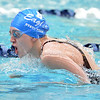 Broomfield's Kendall Wingfield swimming the butterfly leg in the 200 yard medley relay during the state 4A girls swimming finals on Saturday at the Veterans Memorial Aquatic Center.<br /> February 9, 2013<br /> staff photo/ David R. Jennings