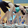 Niwot's Marjorie Driscoll prepares to launch off the blocks for the 50 yard freestyle  during the state 4A girls swimming finals on Saturday at the Veterans Memorial Aquatic Center.<br /> February 9, 2013<br /> staff photo/ David R. Jennings