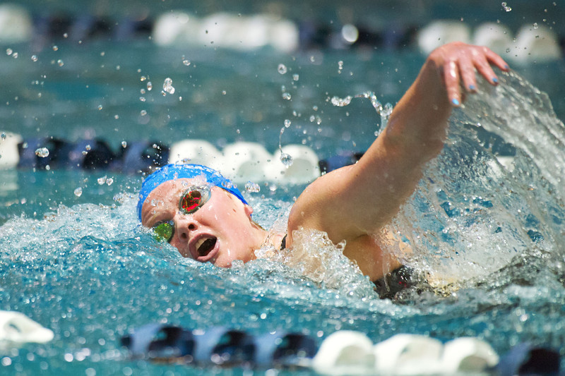 S0210SWIM8.jpg S0210SWIM8<br /> Broomfield's Kate Peterson during the 500 yard Freestyle where she took second with a time of 5:03.26 at the Colorado State 4A girls swim finals in Thornton on Saturday afternoon, February 9th, 2013.<br /> <br /> Photo by: Jonathan Castner