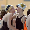 Thompson Valley's Eryn Eddy, right, congratulates Evergreen's Kamryn Holland after finishing the 400 yard relay during the state 4A girls swimming finals on Saturday at the Veterans Memorial Aquatic Center.<br /> February 9, 2013<br /> staff photo/ David R. Jennings