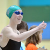 Niwot's Marjorie Driscoll gives the thumbs up before swimming in the 50 yard freestyle  during the state 4A girls swimming finals on Saturday at the Veterans Memorial Aquatic Center.<br /> February 9, 2013<br /> staff photo/ David R. Jennings