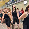 Thompson Valley swim team walk to receive the team's fourth championship in a row at the state 4A girls swimming finals on Saturday at the Veterans Memorial Aquatic Center.<br /> February 9, 2013<br /> staff photo/ David R. Jennings