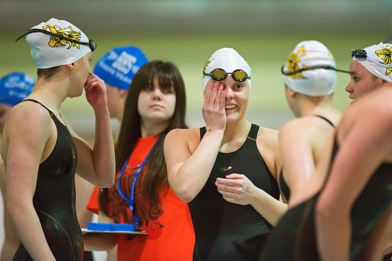 S0210SWIM10.jpg S0210SWIM10<br /> Thompson Valley's Eryn Eddy, Marina Fonseca, Mattea Webeke and Allie Pfauth react to their upset loss in the 400 yard Freestyle Relay where Thompson Valley had set a state record in the preliminary round but took second place at the Colorado State 4A girls swim finals in Thornton on Saturday afternoon, February 9th, 2013.<br /> <br /> Photo by: Jonathan Castner