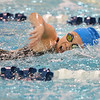 Broomfield's Alaina Gossett swims her leg in the 2500 yard freestyle relay during the state 4A girls swimming finals on Saturday at the Veterans Memorial Aquatic Center.<br /> February 9, 2013<br /> staff photo/ David R. Jennings