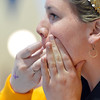 Kayi Changstrom, Thompson Valley's head coach whistles to a swimmer during the state 4A girls swimming finals on Saturday at the Veterans Memorial Aquatic Center.<br /> February 9, 2013<br /> staff photo/ David R. Jennings