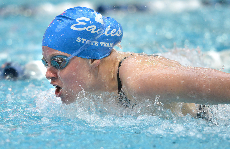 Broomfield's Elizabeth Peterson swimming in the 100 yard butterfly during the state 4A girls swimming finals on Saturday at the Veterans Memorial Aquatic Center.<br /> February 9, 2013<br /> staff photo/ David R. Jennings