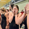 Thompson Valley swim team sheds tears of joy after winning the team's fourth championship in a row at the state 4A girls swimming finals on Saturday at the Veterans Memorial Aquatic Center.<br /> February 9, 2013<br /> staff photo/ David R. Jennings