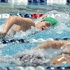 Niwot's Marjorie Driscoll swims her leg of the 400 yard relay freestyle during the state 4A girls swimming finals on Saturday at the Veterans Memorial Aquatic Center.<br /> February 9, 2013<br /> staff photo/ David R. Jennings