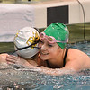Thompson Valley's Eryn Eddy, left is congratulated by Niwot's Zoie Jordan after finishing the 200 yard freestyle relay during the state 4A girls swimming finals on Saturday at the Veterans Memorial Aquatic Center.<br /> February 9, 2013<br /> staff photo/ David R. Jennings