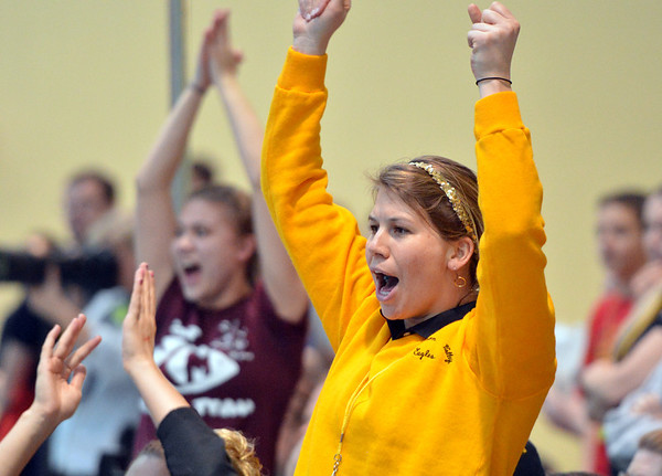Kayi Changstrom, Thompson Valley's head coach cheers for her swimmers during the state 4A girls swimming finals on Saturday at the Veterans Memorial Aquatic Center.<br /> February 9, 2013<br /> staff photo/ David R. Jennings