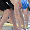 Broomfield's Elizabeth Peterson prepares to swim in the 100 yard butterfly during the state 4A girls swimming finals on Saturday at the Veterans Memorial Aquatic Center.<br /> February 9, 2013<br /> staff photo/ David R. Jennings