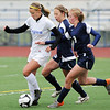 Broomfield's Hailey Mazzola fights for possession of the ball with Evergreen's Gracie Ventimglia during the state 4A sweet 16 game at Elizabeth Kennedy Stadium on Friday. <br /> May 11, 2012 <br /> staff photo/ David R. Jennings
