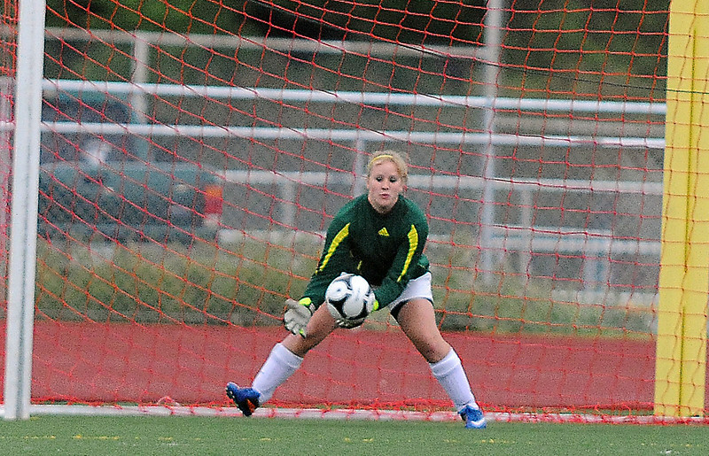 Broomfield's goalie Paige Lindbloom catches an Evergreen kick during the state 4A sweet 16 game at Elizabeth Kennedy Stadium on Friday. <br /> May 11, 2012 <br /> staff photo/ David R. Jennings
