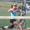 Molly Lord, Centaurus  returns the ball to Madison Subry, Broomfield during the #3 singles match on Thursday at Centaurus.<br /> April 5, 2012 <br /> staff photo/ David R. Jennings