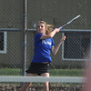 Broomfield's #1 doubles player Shivaun Wood returns the ball to Centaurus' doubles team of Lynn Daniel and Rachel McClure  during play on Thursday at Centaurus.<br /> April 5, 2012 <br /> staff photo/ David R. Jennings