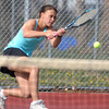 Glenna Gee-Taylor, Centaurus returns the ball to Dayna DeMeritte Broomfield during the #1 singles match on Thursday at Centaurus.<br /> April 5, 2012 <br /> staff photo/ David R. Jennings