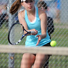 Annie Fernandez, Centaurus  returns the ball to Katie Chrisman, Broomfield during the #2 singles match on Thursday at Centaurus.<br /> April 5, 2012 <br /> staff photo/ David R. Jennings