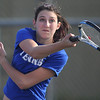 Broomfield's #1 doubles player Monro Obenauer returns the ball to Centaurus' doubles team of Lynn Daniel and Rachel McClure  during play on Thursday at Centaurus.<br /> April 5, 2012 <br /> staff photo/ David R. Jennings