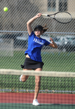Madison Subry, Broomfield returns the ball to Molly Lord, Centaurus  during the #3 singles match on Thursday at Centaurus.<br /> April 5, 2012 <br /> staff photo/ David R. Jennings
