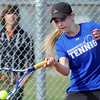 Katie Chrisman, Broomfield returns the ball to Annie Fernandez, Centaurus  during the #2 singles match on Thursday at Centaurus.<br /> April 5, 2012 <br /> staff photo/ David R. Jennings