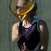 Legacy's no. 2 singles player Audrey Puls returns the ball during her match against  Ft. Collins' Lauren Bledsoe on Thursday at Legacy.<br /> <br /> April 1, 2011<br /> staff photo/David R. Jennings