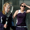 Legacy's no. 1 doubles players Molly Madson, left, and Muriel Westover react during their match on Thursday against  Ft. Collins doubles team of Katie Dugan and Andrea Raab at Legacy.<br /> <br /> April 1, 2011<br /> staff photo/David R. Jennings