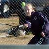 Legacy's no. 1 doubles player Molly Madson returns the ball during their match on Thursday against  Ft. Collins doubles team of Katie Dugan and Andrea Raab at Legacy.<br /> <br /> April 1, 2011<br /> staff photo/David R. Jennings