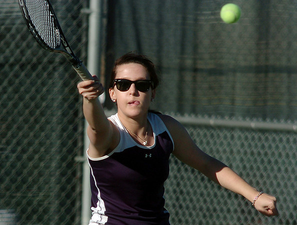 Legacy's no. 1 doubles player Muriel Westover hits the ball during their match on Thursday against  Ft. Collins doubles team of Katie Dugan and Andrea Raab at Legacy.<br /> <br /> April 1, 2011<br /> staff photo/David R. Jennings